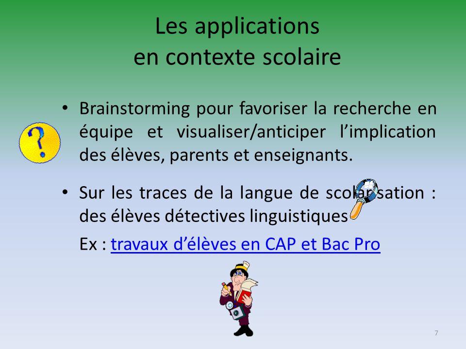 Les applications en contexte scolaire Brainstorming pour favoriser la recherche en équipe et visualiser/anticiper limplication des élèves, parents et