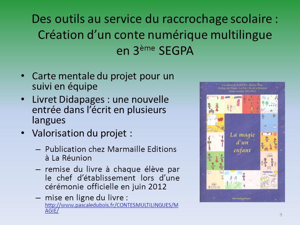 Des outils au service du raccrochage scolaire : Création dun conte numérique multilingue en 3 ème SEGPA Carte mentale du projet pour un suivi en équip