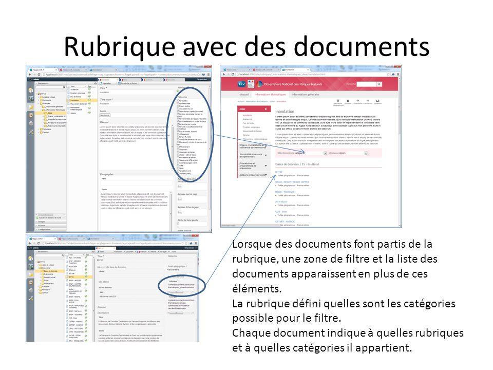 Rubrique avec des documents Lorsque des documents font partis de la rubrique, une zone de filtre et la liste des documents apparaissent en plus de ces éléments.