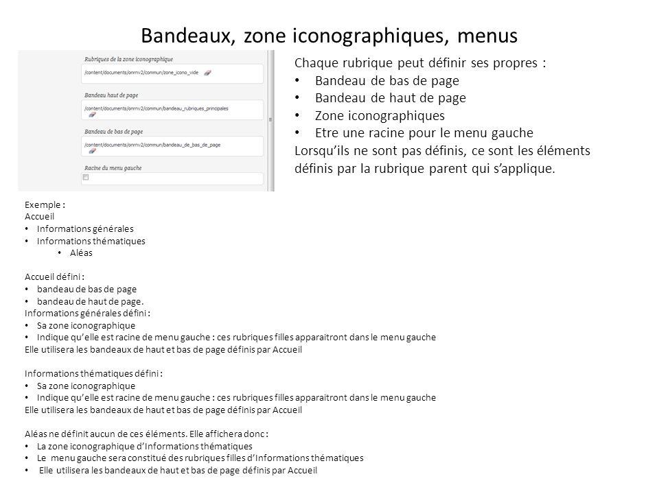 Bandeaux, zone iconographiques, menus Chaque rubrique peut définir ses propres : Bandeau de bas de page Bandeau de haut de page Zone iconographiques Etre une racine pour le menu gauche Lorsquils ne sont pas définis, ce sont les éléments définis par la rubrique parent qui sapplique.