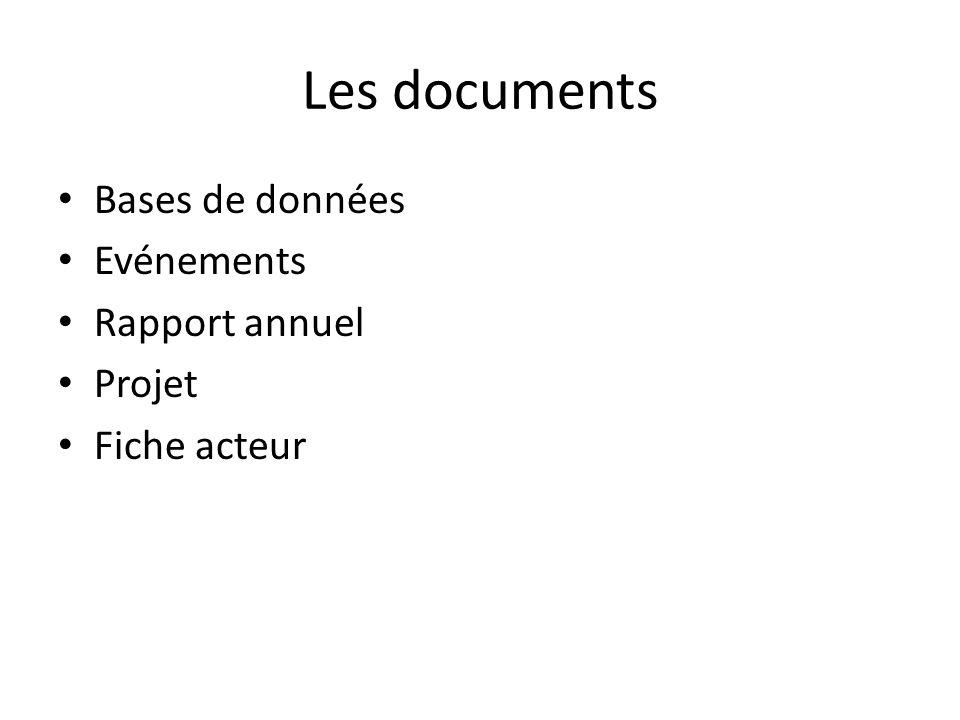 Les documents Bases de données Evénements Rapport annuel Projet Fiche acteur