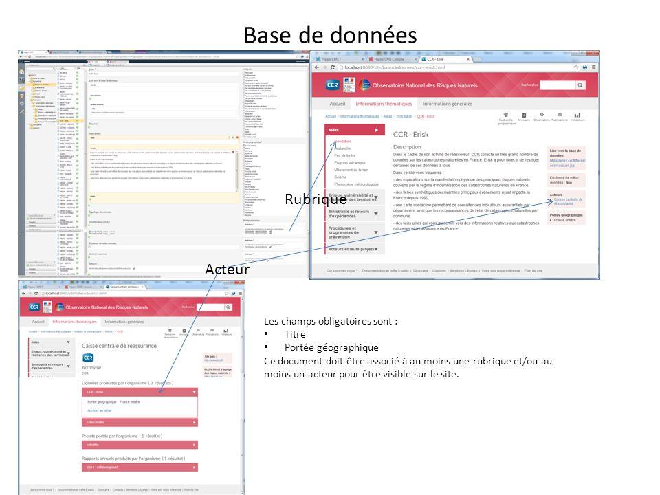 Base de données Les champs obligatoires sont : Titre Portée géographique Ce document doit être associé à au moins une rubrique et/ou au moins un acteur pour être visible sur le site.