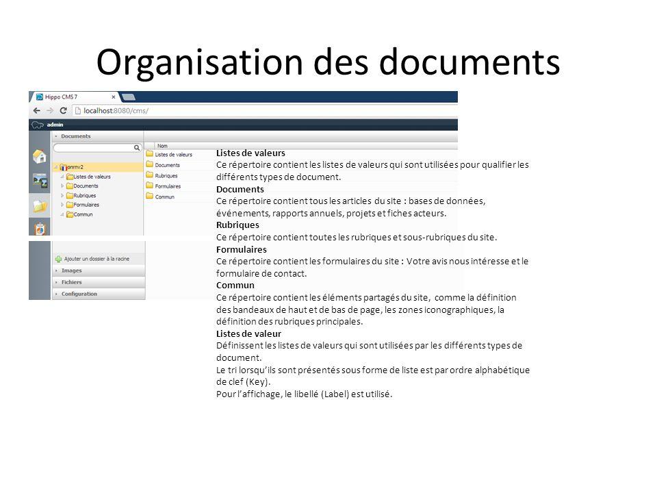 Organisation des documents Listes de valeurs Ce répertoire contient les listes de valeurs qui sont utilisées pour qualifier les différents types de document.