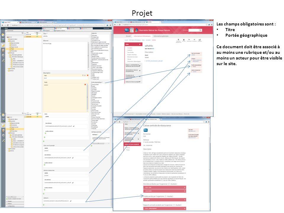 Projet Les champs obligatoires sont : Titre Portée géographique Ce document doit être associé à au moins une rubrique et/ou au moins un acteur pour être visible sur le site.