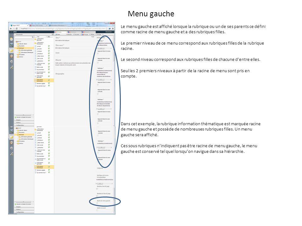 Menu gauche Le menu gauche est affiché lorsque la rubrique ou un de ses parents ce défini comme racine de menu gauche et a des rubriques filles.