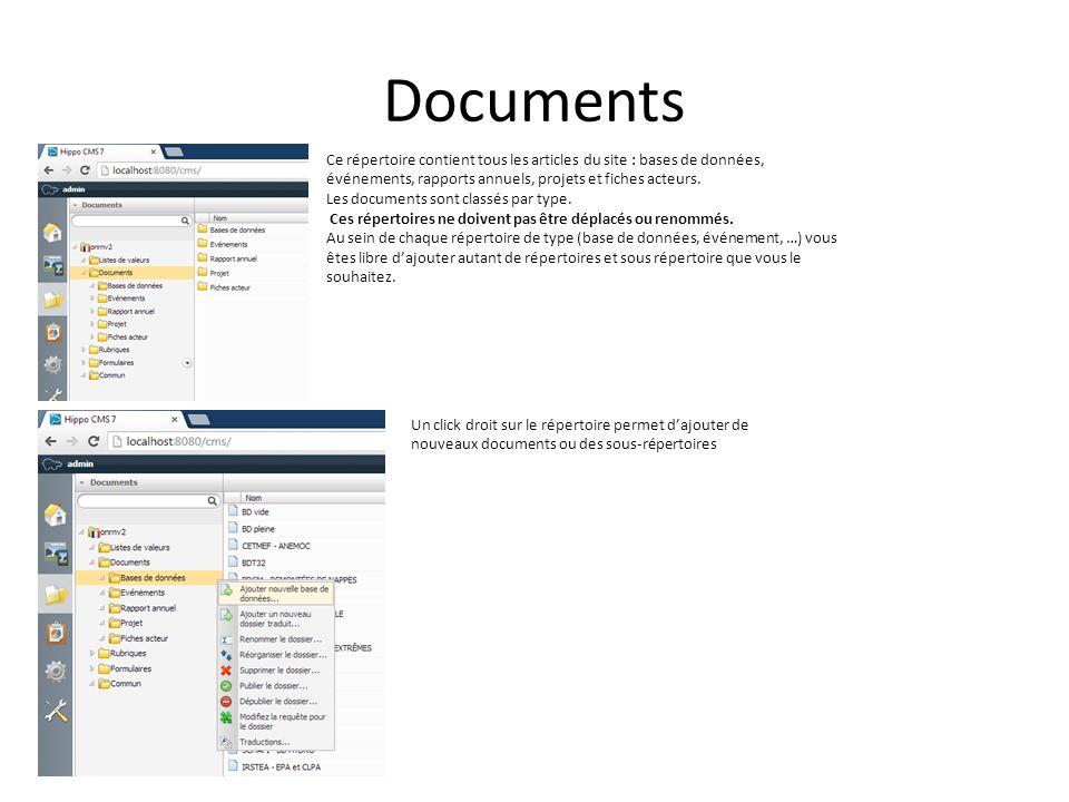 Bandeau de haut de page Le bandeau de haut de page est défini par un document de type bandeau.
