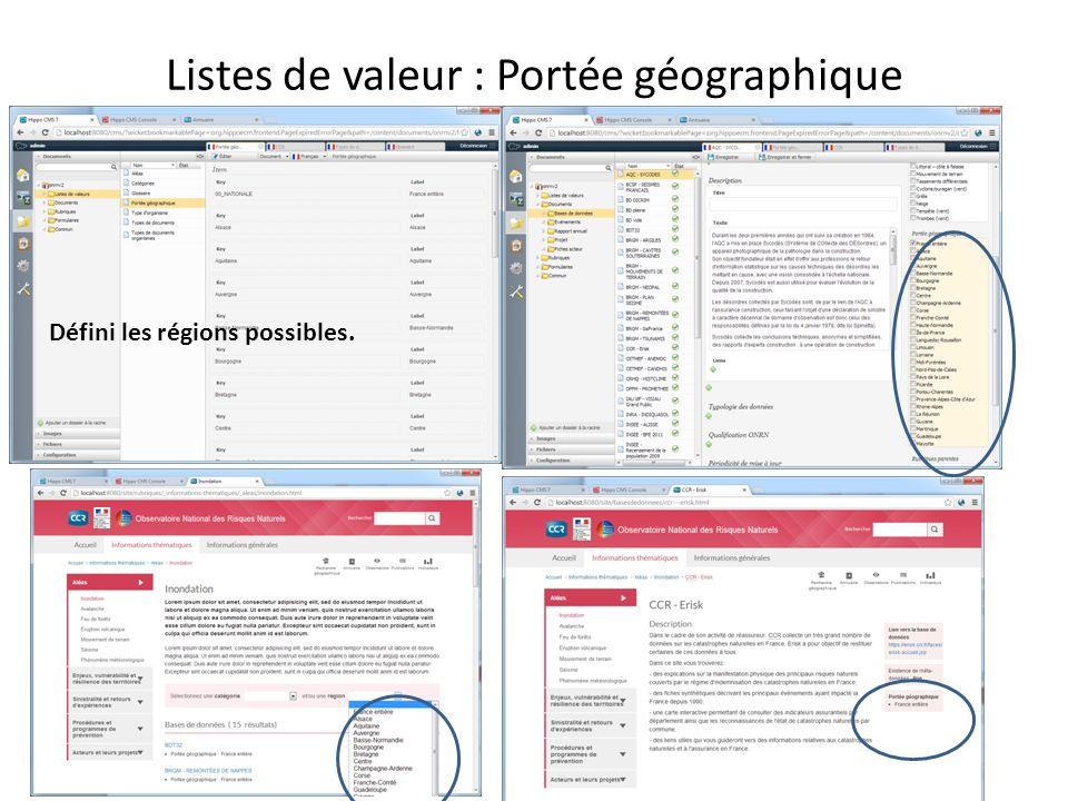 Listes de valeur : Portée géographique Défini les régions possibles.