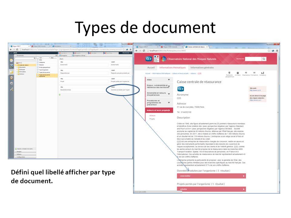 Listes de valeur : Types de document organisme Défini quel libellé afficher par type de document lorsquon est dans une fiche acteur.