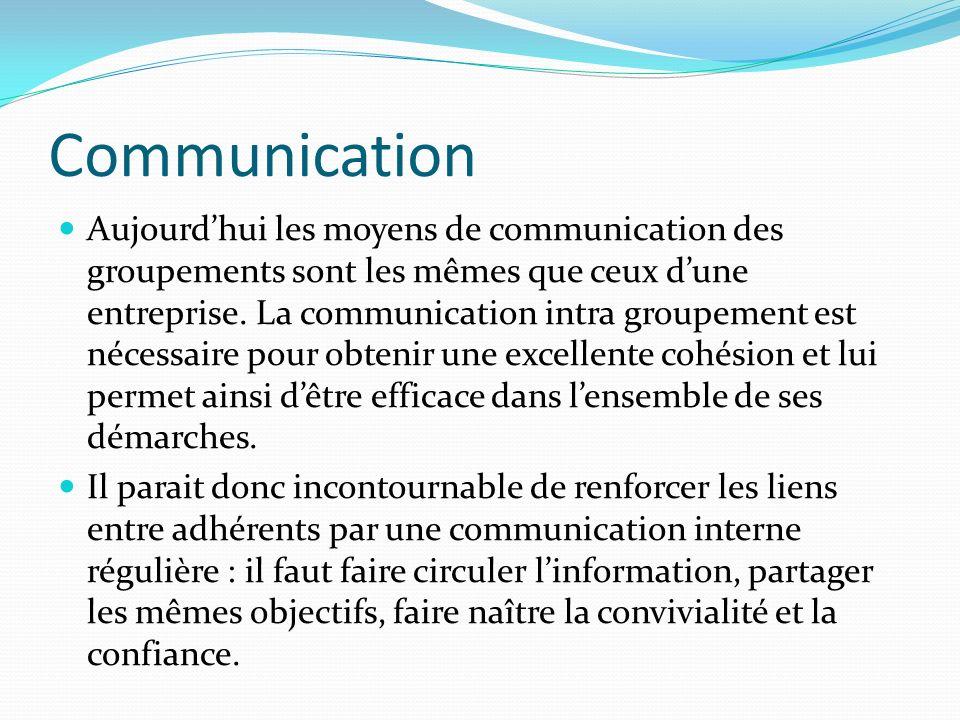 Communication Aujourdhui les moyens de communication des groupements sont les mêmes que ceux dune entreprise. La communication intra groupement est né