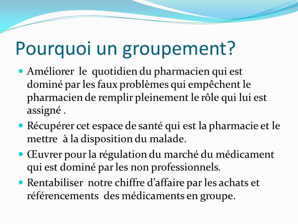 Pourquoi un groupement? Améliorer le quotidien du pharmacien qui est dominé par les faux problèmes qui empêchent le pharmacien de remplir pleinement l