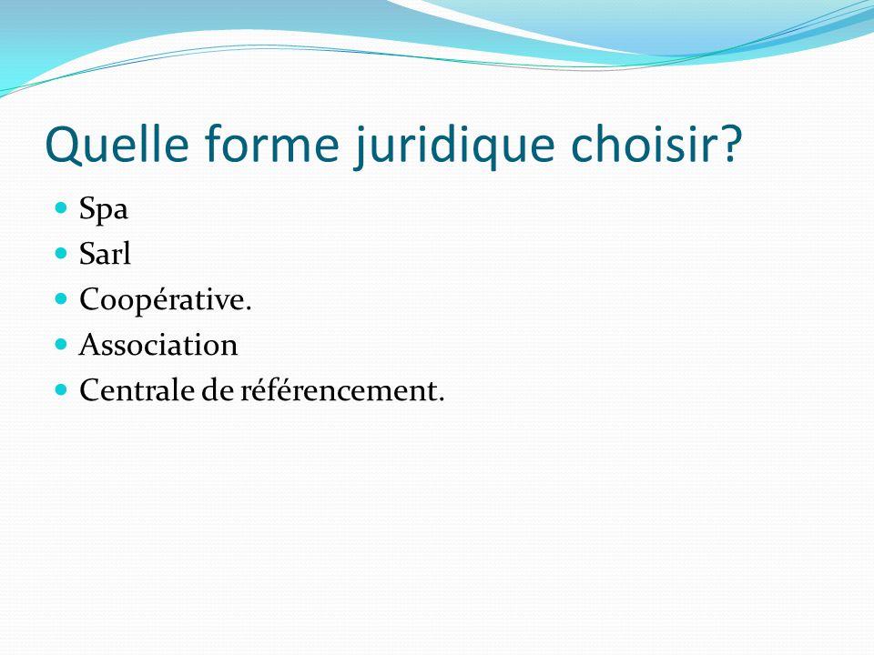 Quelle forme juridique choisir? Spa Sarl Coopérative. Association Centrale de référencement.