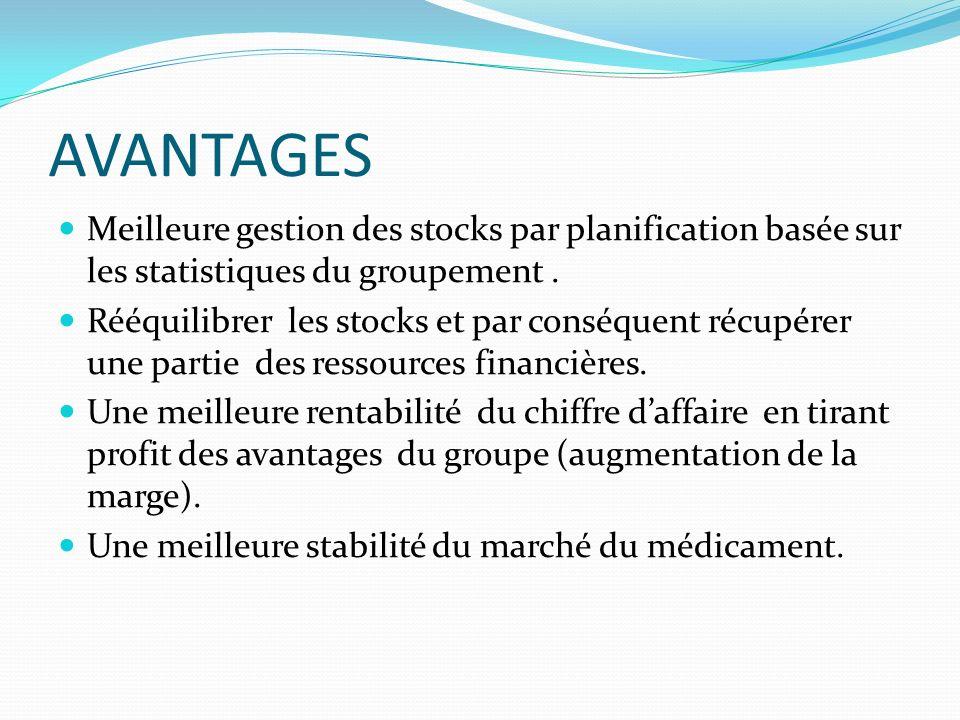 AVANTAGES Meilleure gestion des stocks par planification basée sur les statistiques du groupement. Rééquilibrer les stocks et par conséquent récupérer