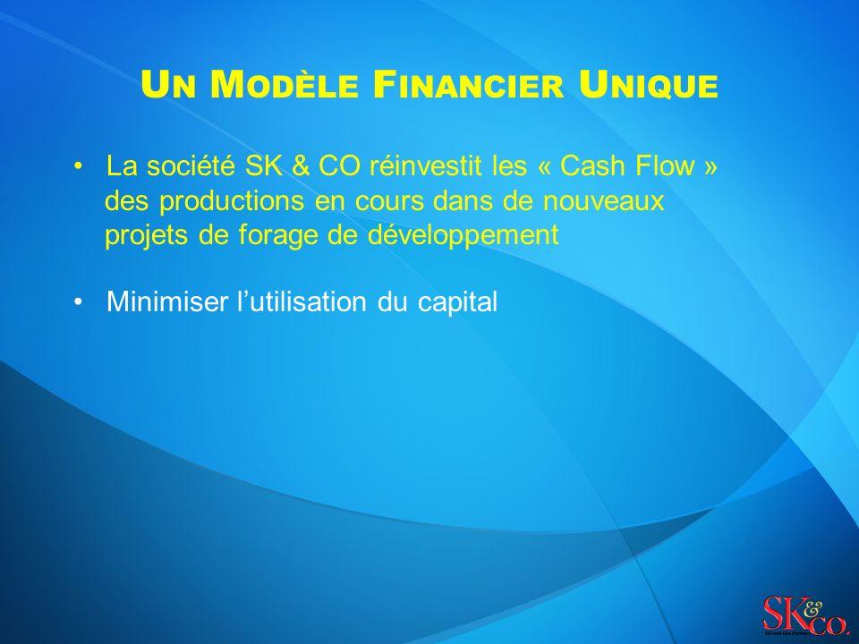 U N M ODÈLE F INANCIER U NIQUE La société SK & CO réinvestit les « Cash Flow » des productions en cours dans de nouveaux projets de forage de développement Minimiser lutilisation du capital