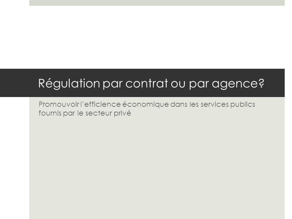 Régulation par contrat ou par agence.