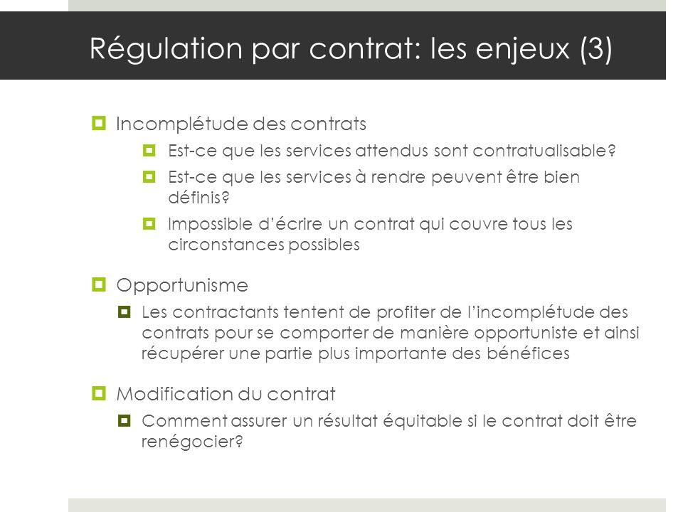 Régulation par contrat: les enjeux (3) Incomplétude des contrats Est-ce que les services attendus sont contratualisable.
