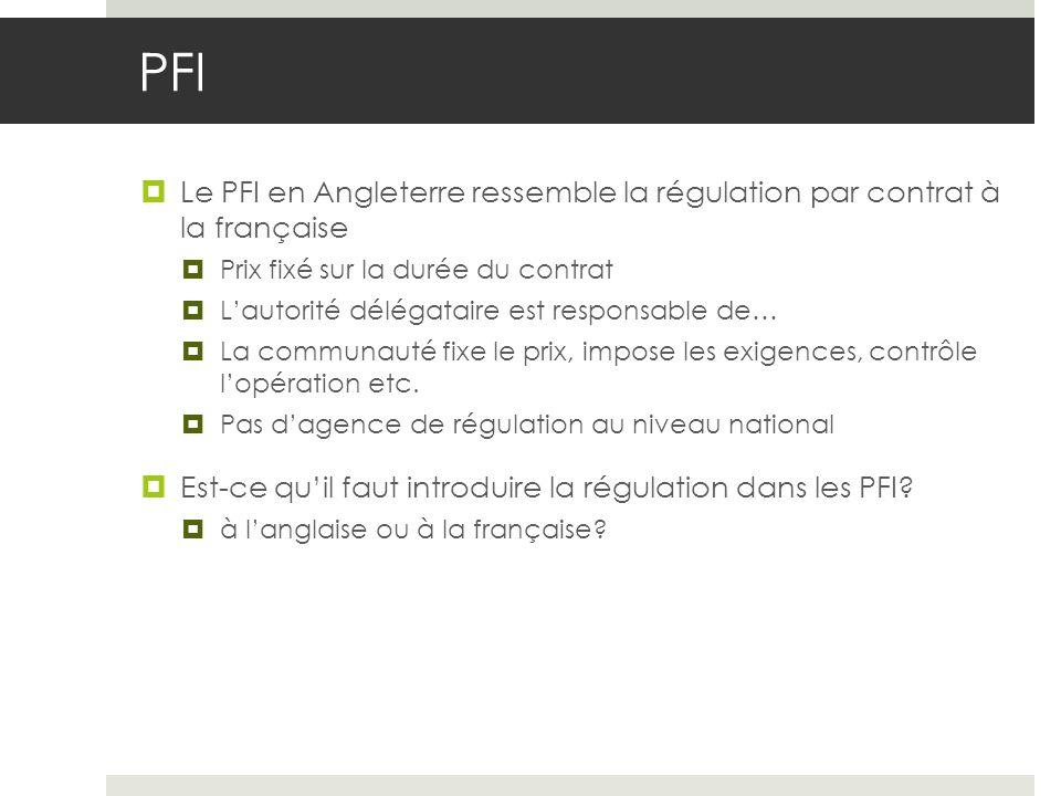 PFI Le PFI en Angleterre ressemble la régulation par contrat à la française Prix fixé sur la durée du contrat Lautorité délégataire est responsable de… La communauté fixe le prix, impose les exigences, contrôle lopération etc.