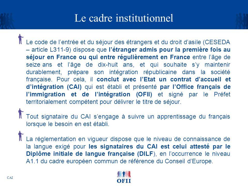 Le cadre institutionnel Le code de lentrée et du séjour des étrangers et du droit dasile (CESEDA – article L311-9) dispose que létranger admis pour la