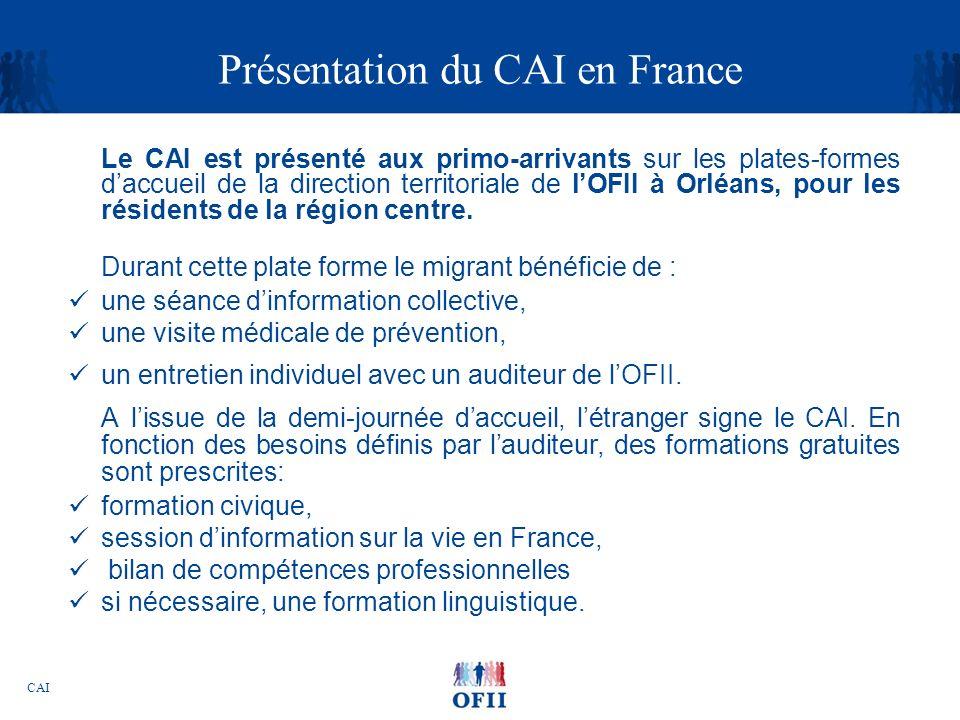 CAI Présentation du CAI en France Le CAI est présenté aux primo-arrivants sur les plates-formes daccueil de la direction territoriale de lOFII à Orléa