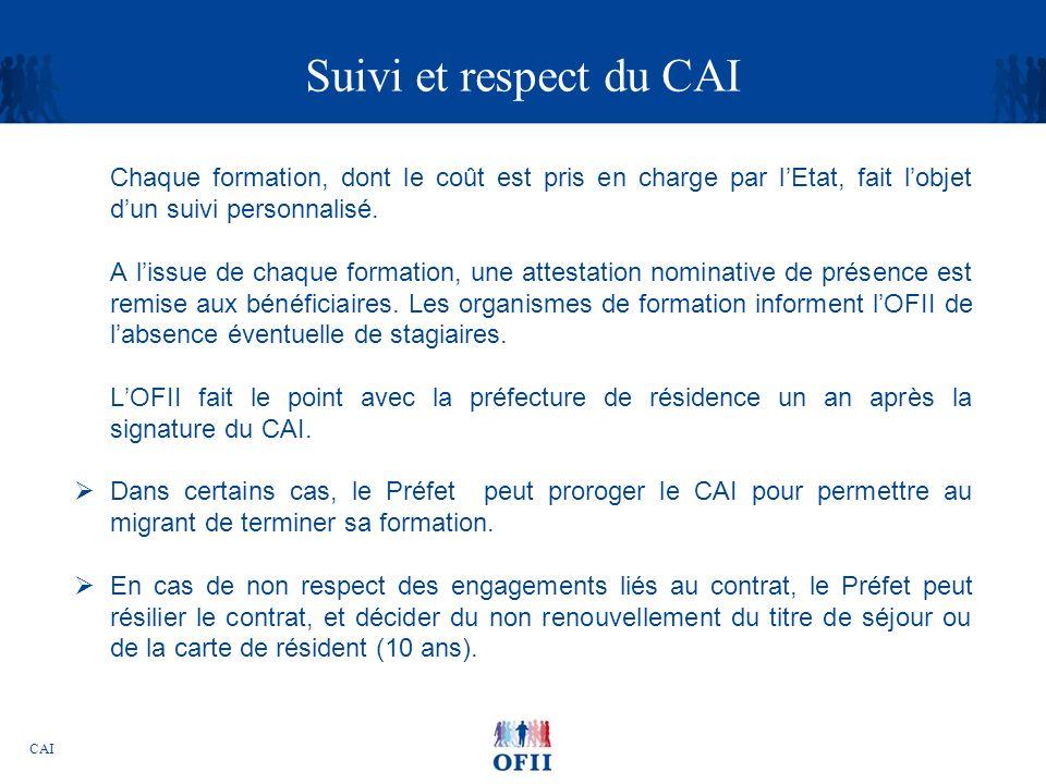 CAI Suivi et respect du CAI Chaque formation, dont le coût est pris en charge par lEtat, fait lobjet dun suivi personnalisé. A lissue de chaque format