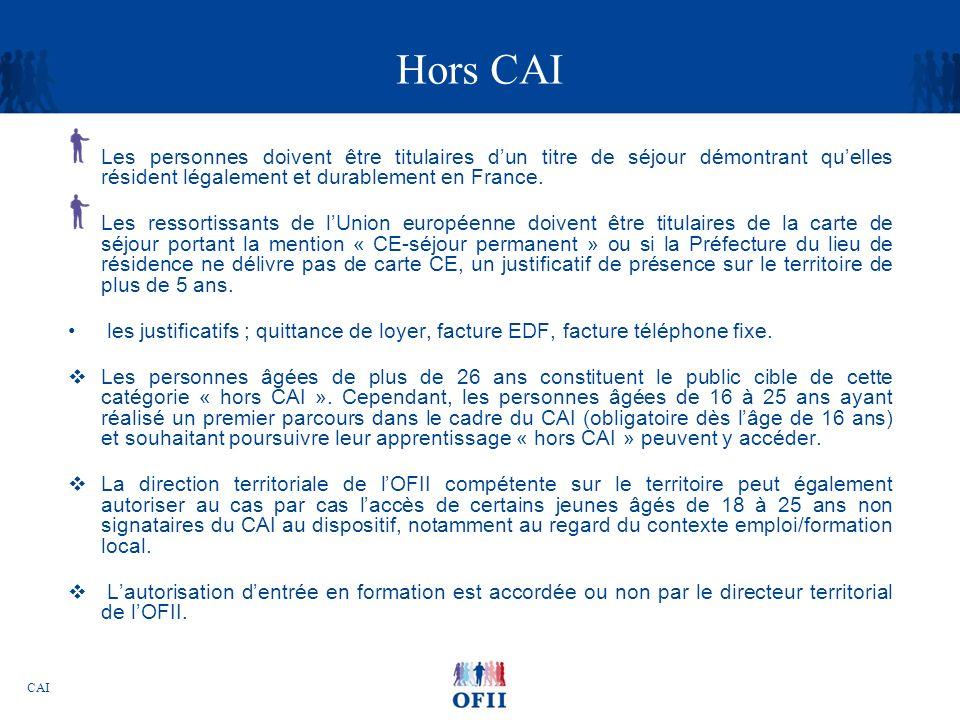 CAI Hors CAI Les personnes doivent être titulaires dun titre de séjour démontrant quelles résident légalement et durablement en France. Les ressortiss