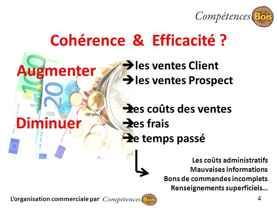 Lorganisation commerciale par Cohérence & Efficacité ? Augmenter Les coûts administratifs Mauvaises informations Bons de commandes incomplets Renseign