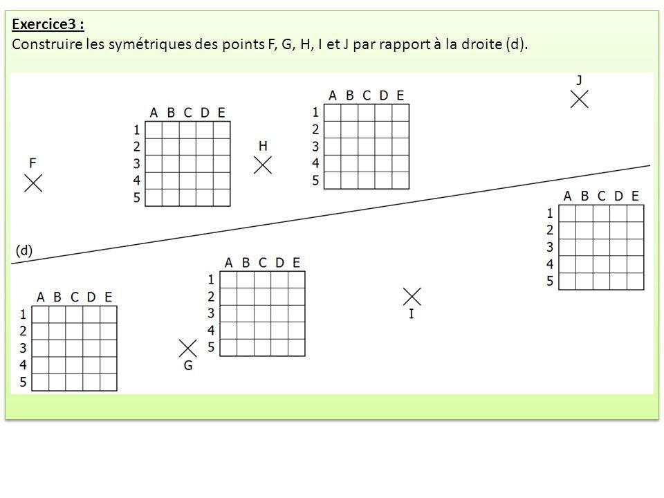Exercice3 : Construire les symétriques des points F, G, H, I et J par rapport à la droite (d). Exercice3 : Construire les symétriques des points F, G,