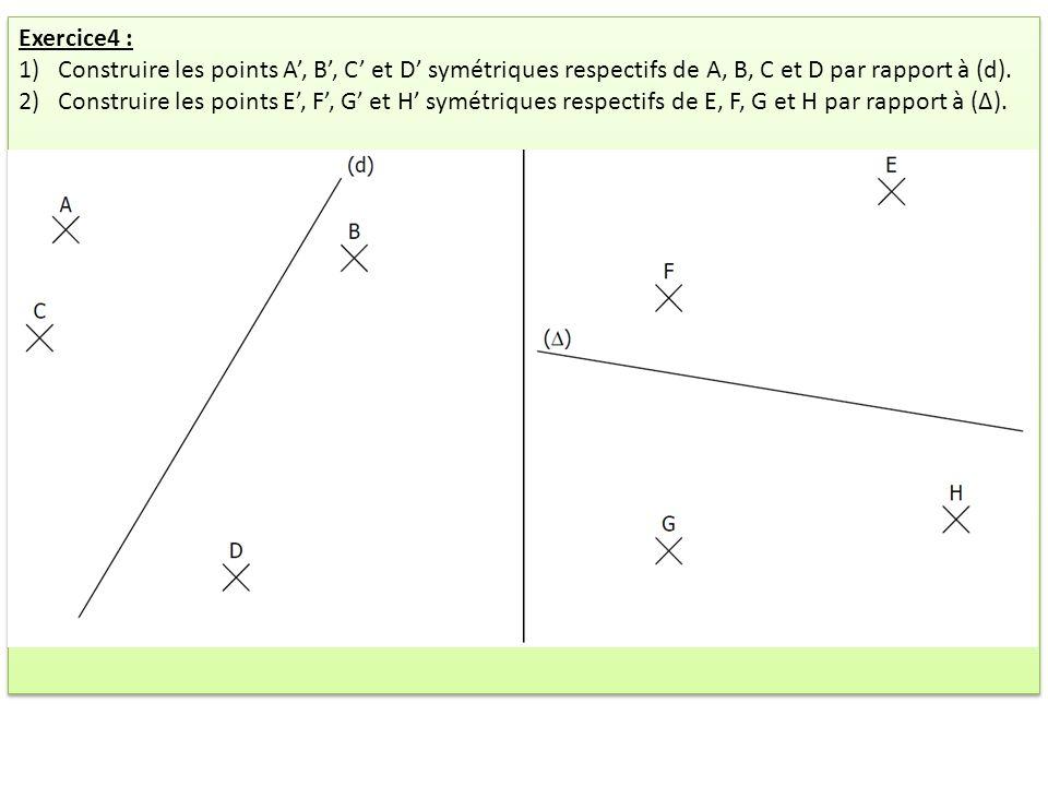 Exercice4 : 1)Construire les points A, B, C et D symétriques respectifs de A, B, C et D par rapport à (d). 2)Construire les points E, F, G et H symétr