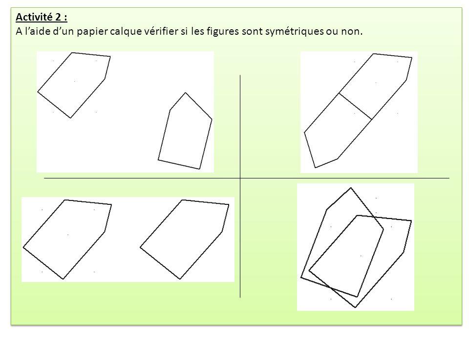 Activité 2 : A laide dun papier calque vérifier si les figures sont symétriques ou non. Activité 2 : A laide dun papier calque vérifier si les figures
