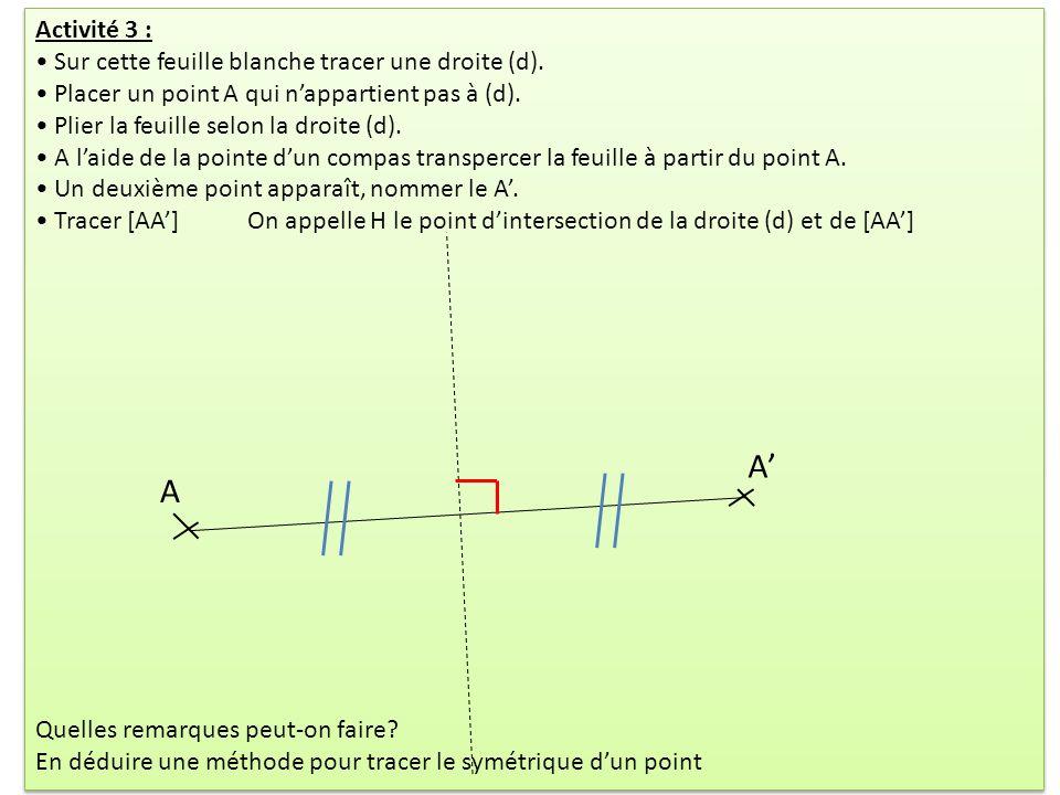 Activité 3 : Sur cette feuille blanche tracer une droite (d). Placer un point A qui nappartient pas à (d). Plier la feuille selon la droite (d). A lai