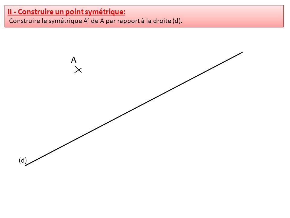 II - Construire un point symétrique: Construire le symétrique A de A par rapport à la droite (d). II - Construire un point symétrique: Construire le s