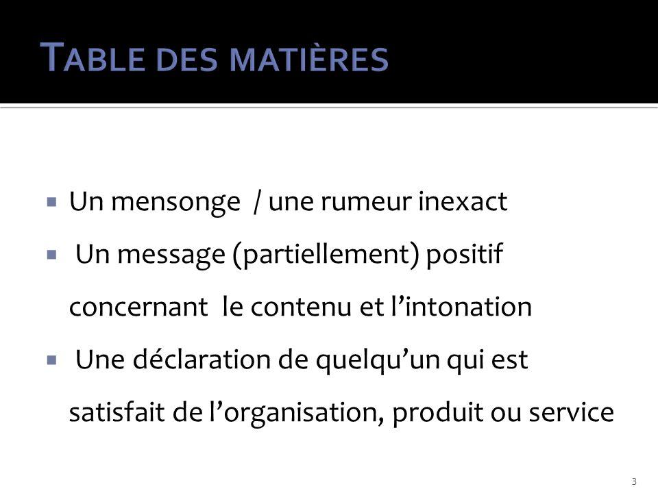 Un mensonge / une rumeur inexact Un message (partiellement) positif concernant le contenu et lintonation Une déclaration de quelquun qui est satisfait de lorganisation, produit ou service 3