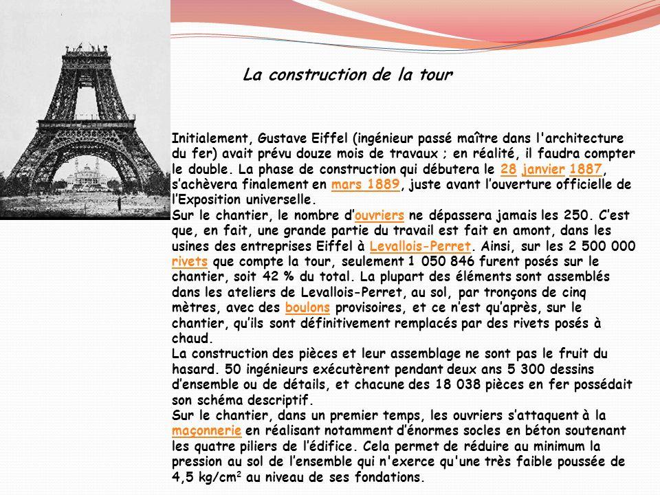 Initialement, Gustave Eiffel (ingénieur passé maître dans l'architecture du fer) avait prévu douze mois de travaux ; en réalité, il faudra compter le