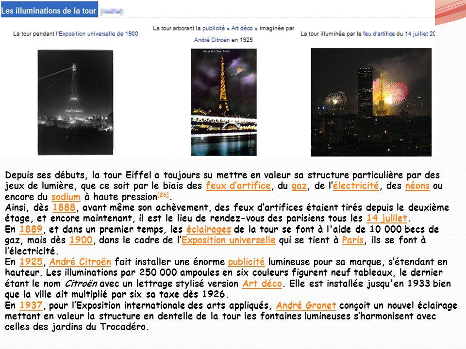 Depuis ses débuts, la tour Eiffel a toujours su mettre en valeur sa structure particulière par des jeux de lumière, que ce soit par le biais des feux