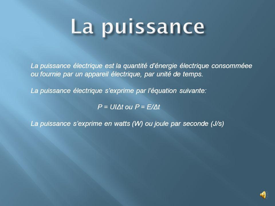 La puissance électrique est la quantité dénergie électrique consomméee ou fournie par un appareil électrique, par unité de temps.