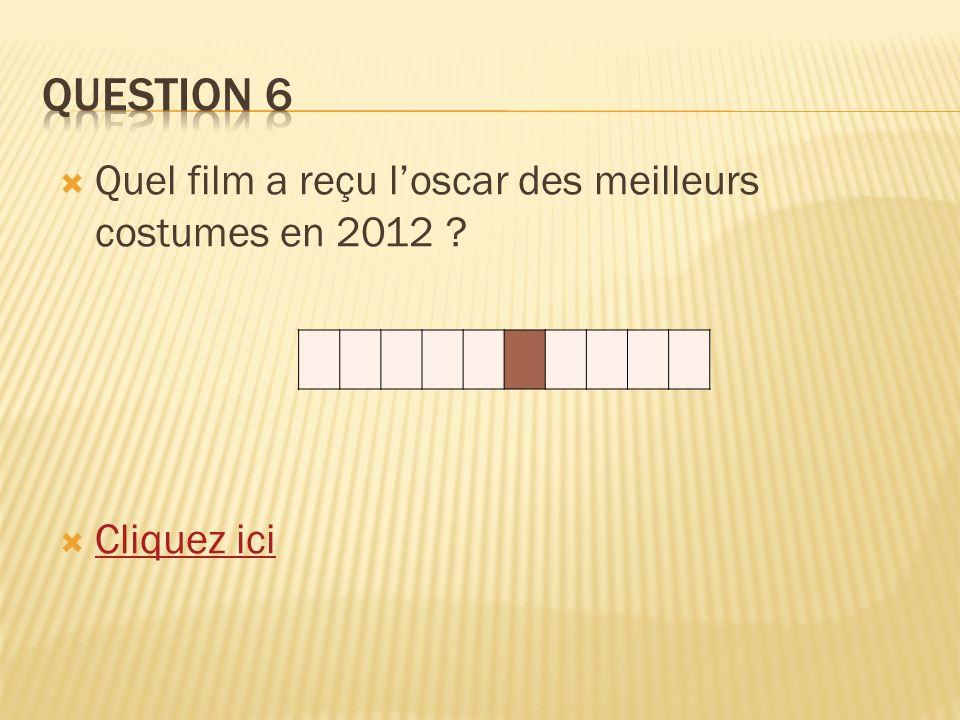 Quel film a reçu loscar des meilleurs costumes en 2012 ? Cliquez ici