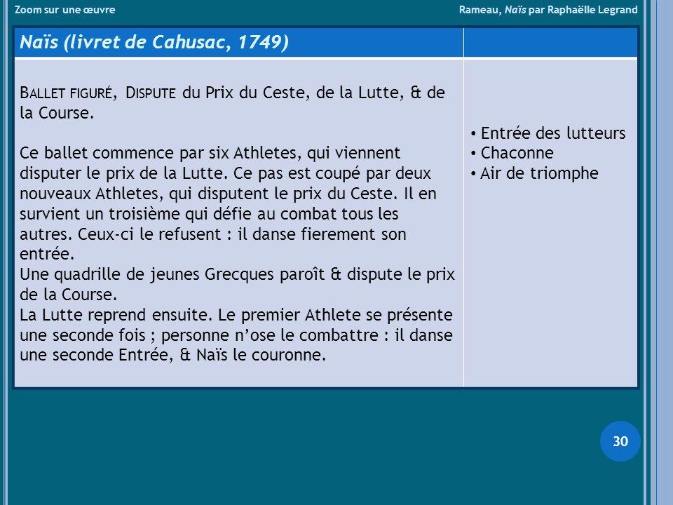 Zoom sur une œuvre Rameau, Naïs par Raphaëlle Legrand Naïs (livret de Cahusac, 1749) B ALLET FIGURÉ, D ISPUTE du Prix du Ceste, de la Lutte, & de la C