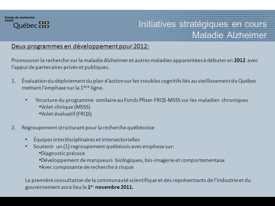 Initiatives stratégiques en cours Maladie Alzheimer Deux programmes en développement pour 2012: Promouvoir la recherche sur la maladie Alzheimer et autres maladies apparentées à débuter en 2012 avec lappui de partenaires privés et publiques.