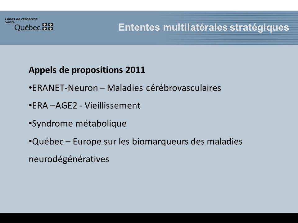 Appels de propositions 2011 ERANET-Neuron – Maladies cérébrovasculaires ERA –AGE2 - Vieillissement Syndrome métabolique Québec – Europe sur les biomarqueurs des maladies neurodégénératives Ententes multilatérales stratégiques