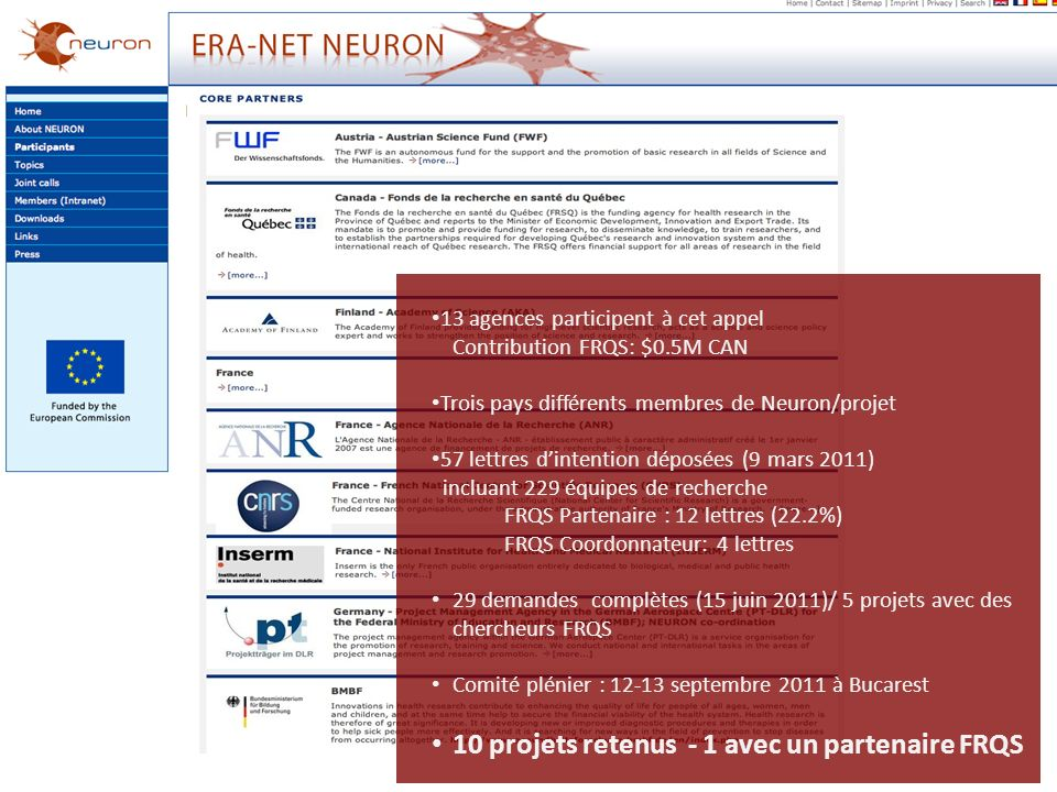 13 agences participent à cet appel Contribution FRQS: $0.5M CAN Trois pays différents membres de Neuron/projet 57 lettres dintention déposées (9 mars 2011) incluant 229 équipes de recherche FRQS Partenaire : 12 lettres (22.2%) FRQS Coordonnateur: 4 lettres 29 demandes complètes (15 juin 2011)/ 5 projets avec des chercheurs FRQS Comité plénier : 12-13 septembre 2011 à Bucarest 10 projets retenus - 1 avec un partenaire FRQS