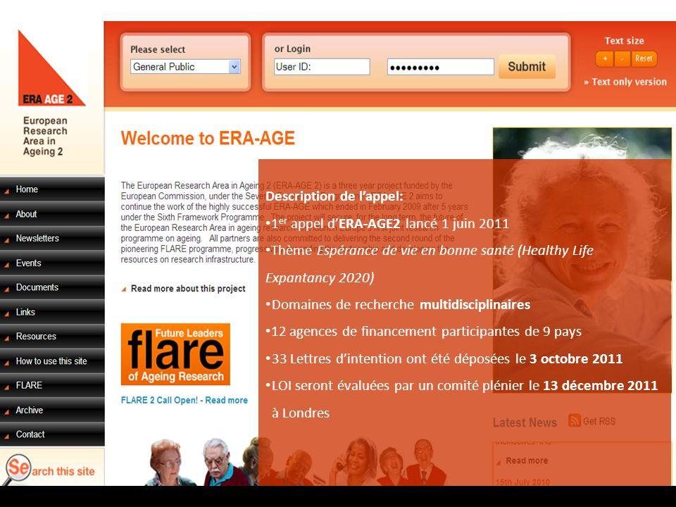 ERA-AGE2 Appel de projets sur le Vieillissement 2011-12 Description de lappel: 1 er appel dERA-AGE2 lancé 1 juin 2011 Thème Espérance de vie en bonne