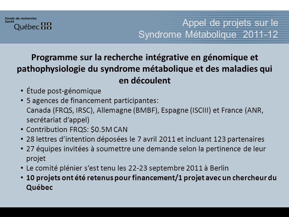 Appel de projets sur le Syndrome Métabolique 2011-12 Programme sur la recherche intégrative en génomique et pathophysiologie du syndrome métabolique et des maladies qui en découlent Étude post-génomique 5 agences de financement participantes: Canada (FRQS, IRSC), Allemagne (BMBF), Espagne (ISCIII) et France (ANR, secrétariat dappel) Contribution FRQS: $0.5M CAN 28 lettres dintention déposées le 7 avril 2011 et incluant 123 partenaires 27 équipes invitées à soumettre une demande selon la pertinence de leur projet Le comité plénier sest tenu les 22-23 septembre 2011 à Berlin 10 projets ont été retenus pour financement/1 projet avec un chercheur du Québec