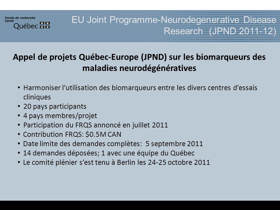 EU Joint Programme-Neurodegenerative Disease Research (JPND 2011-12) Appel de projets Québec-Europe (JPND) sur les biomarqueurs des maladies neurodégénératives Harmoniser lutilisation des biomarqueurs entre les divers centres dessais cliniques 20 pays participants 4 pays membres/projet Participation du FRQS annoncé en juillet 2011 Contribution FRQS: $0.5M CAN Date limite des demandes complètes: 5 septembre 2011 14 demandes déposées; 1 avec une équipe du Québec Le comité plénier sest tenu à Berlin les 24-25 octobre 2011