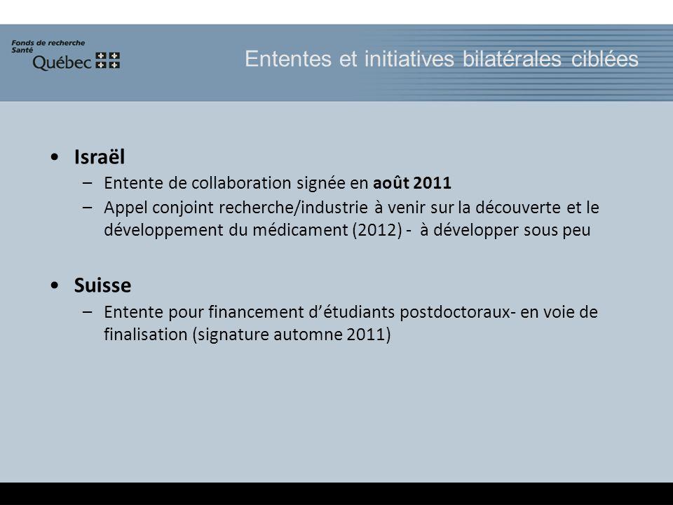 Ententes et initiatives bilatérales ciblées Israël –Entente de collaboration signée en août 2011 –Appel conjoint recherche/industrie à venir sur la dé