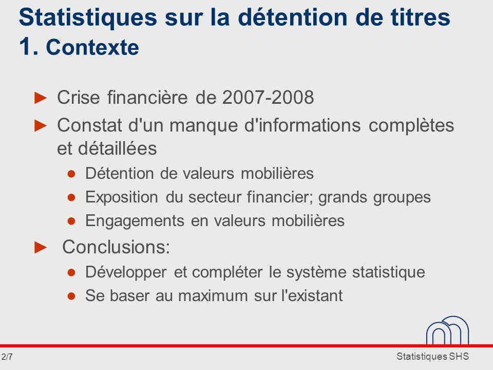 Statistiques SHS Statistiques sur la détention de titres 1. Contexte Crise financière de 2007-2008 Constat d'un manque d'informations complètes et dét