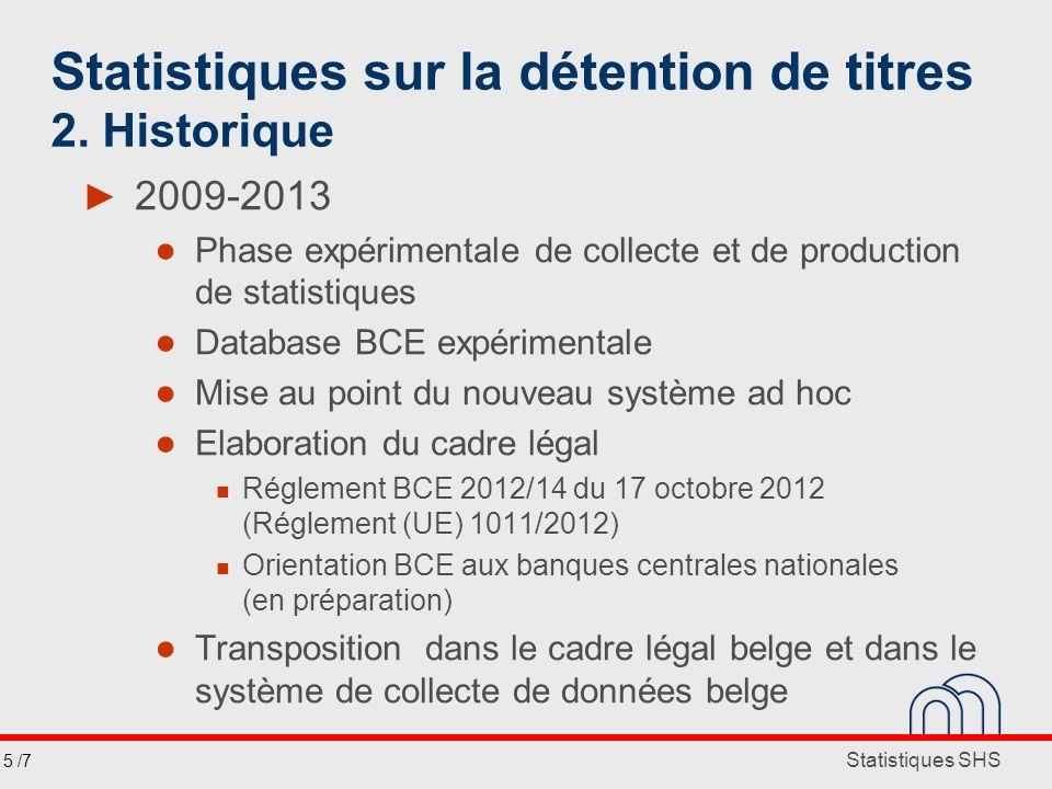 Statistiques SHS Statistiques sur la détention de titres 2. Historique 2009-2013 Phase expérimentale de collecte et de production de statistiques Data