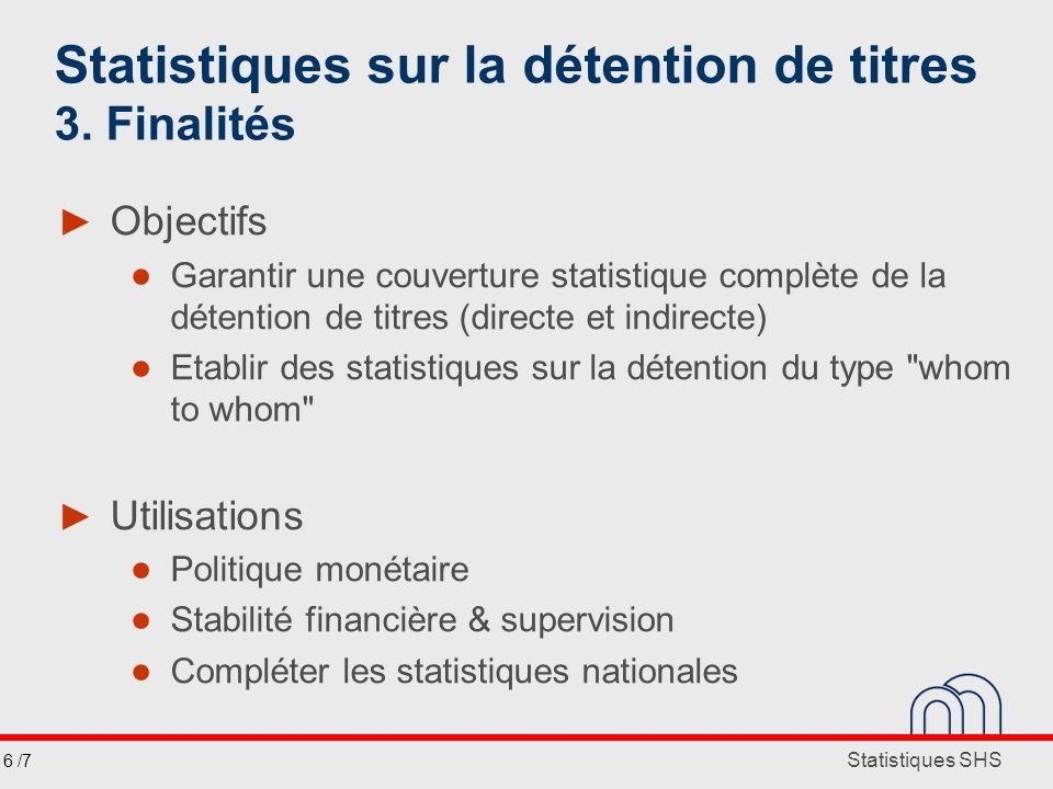 Statistiques SHS Statistiques sur la détention de titres 3. Finalités Objectifs Garantir une couverture statistique complète de la détention de titres