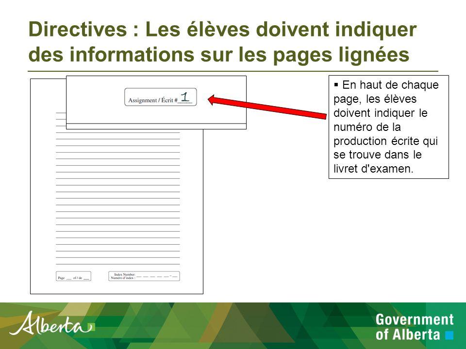 Directives : Comment les élèves doivent se servir des pages lignées Les élèves devront rédiger leurs productions écrites sur les pages lignées fournies.