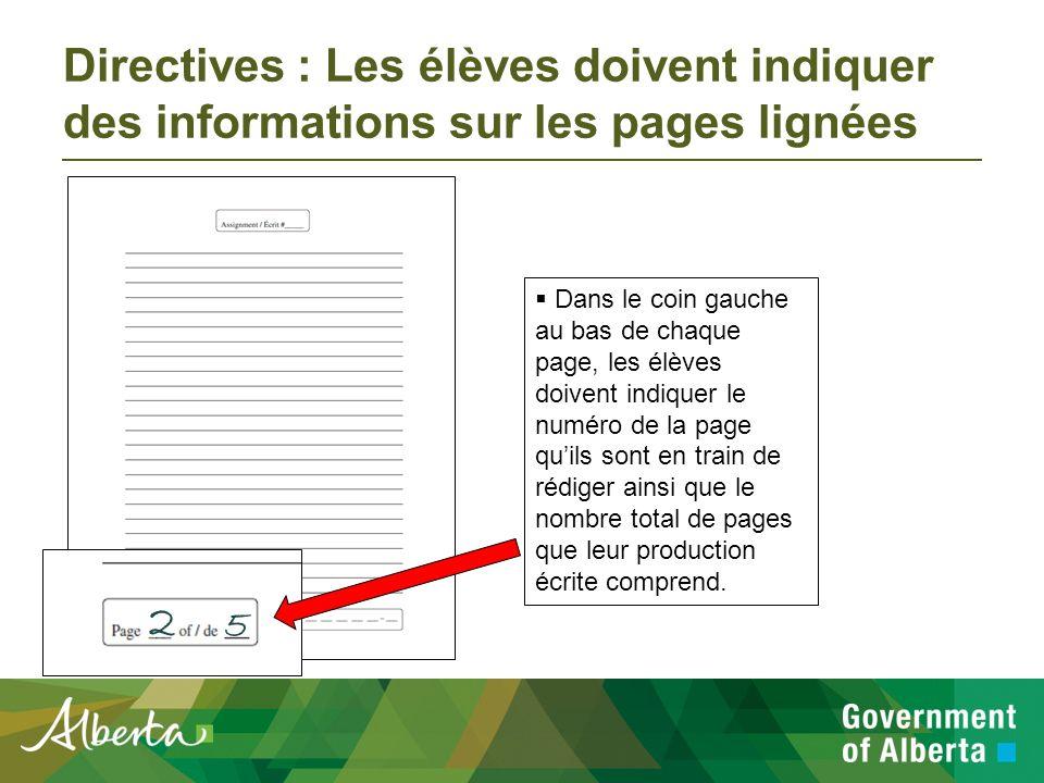 Directives : Les élèves doivent indiquer des informations sur les pages lignées En haut de chaque page, les élèves doivent indiquer le numéro de la production écrite qui se trouve dans le livret d examen.