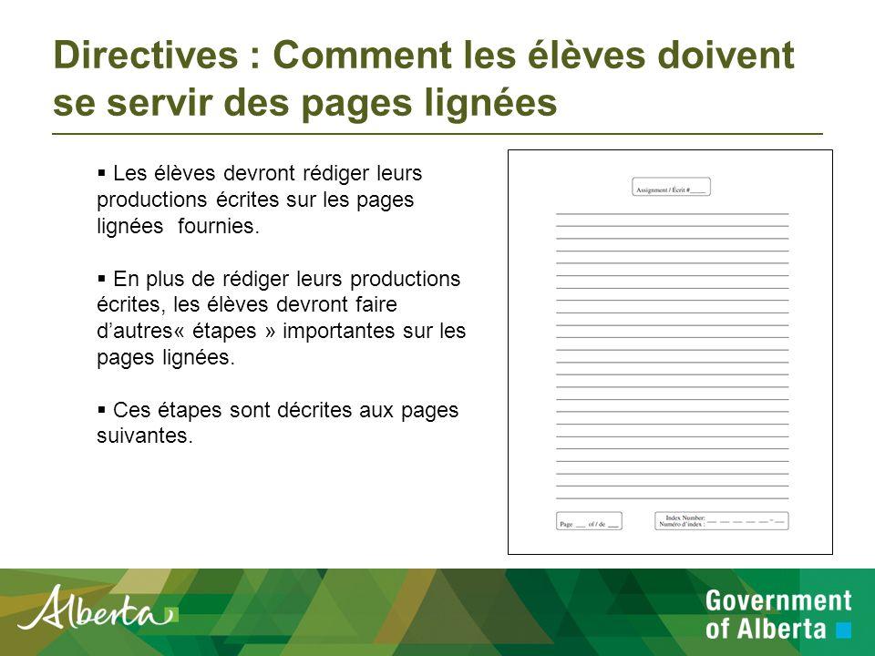 Directives : Distribution des pages lignées Le jour de lexamen, le personnel de lécole distribuera les pages lignées aux élèves qui choisissent de rédiger à la main leurs productions écrites.