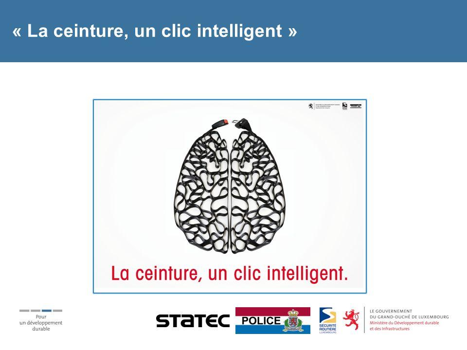 « La ceinture, un clic intelligent » Supports: 45 panneaux routiers sur le réseau luxembourgeois Spots radio en luxembourgeois/allemand/portugais Spot